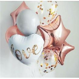 Букет шариков на свадьбу Love, со звездами