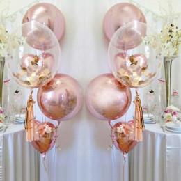Композиция из шариков на свадьбу розовое золото