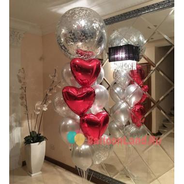 Фонтан из шариков на свадьбу с большим шаром с конфетти и сердцами