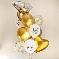 Букет из шариков на свадьбу с кольцом и золотым сердцем