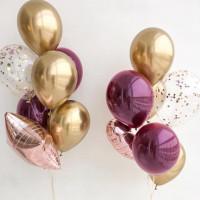 Сет из воздушных шариков хром со звездой и сердцем на свадьбу