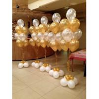 Композиция из шаров на свадьбу из пяти фонтанов