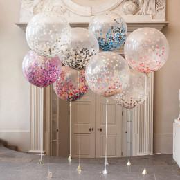 Композиция из шаров с гелием с большим шарами с конфетти на свадьбу