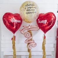 Композиция из шариков LOVE с красными сердцами