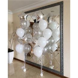 Композиция из шаров на свадьбу из двух фонтанов со звездами