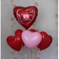 Букет шариков Сердца, I Love you