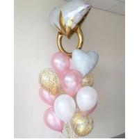 Букет из гелевых шаров на свадьбу с кольцом с бриллиантом