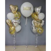Композиция из гелевых шаров на свадьбу с большим шаром с вашей надписью в бело-золотой гамме