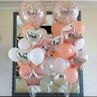 Композиция из шаров с гелием из двух фонтанов с большими шарами с конфетти