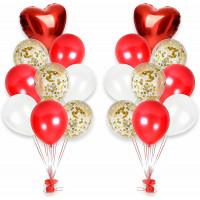 Композиция из шариков на свадьбу два фонтана с красными сердцами