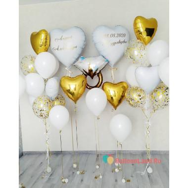 Композиция из шариков на свадьбу с кольцом и сердцами с персональными надписями