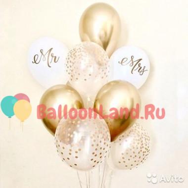Букет гелиевых шариков на свадьбу Mr & Mrs