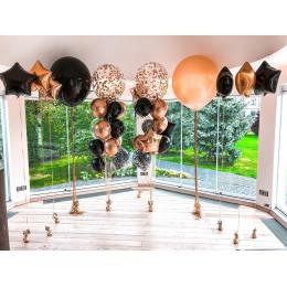 Композиция из воздушных шариков на свадьбу в черно-золой гамме