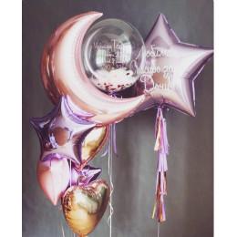 Композиция из шариков с гелием с месяцем, звездой и шаром с перьями для новорожденной доченьки