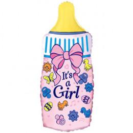 Фигурный шар Бутылочка It's a girl, розовая