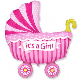Фигурный шар Детская Коляска (розовая)