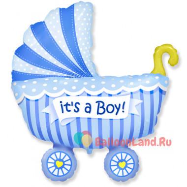 Фигурный шар Детская коляска (голубая)