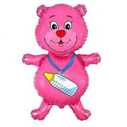 Фигурный шар Розовый Медвежонок