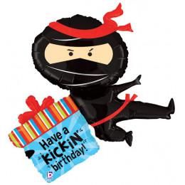 Фигурный шар Черный Ниндзя с подарком