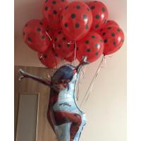 Композиция из шаров Леди Баг с одним фонтаном в горошек - дополнительное фото #1