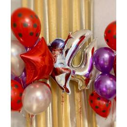 Композиция из шаров Леди Баг с шарами Хром и конфетти - дополнительное фото #1