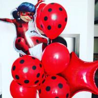 Букет шаров Леди Баг чёрно-красный со звёздами - дополнительное фото #1