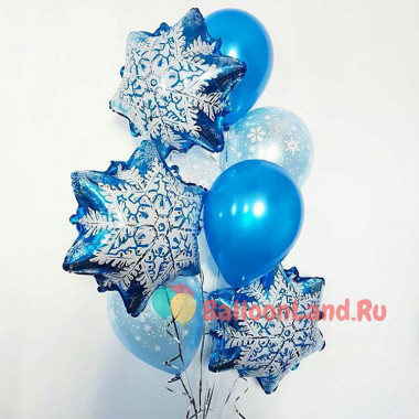 Букет воздушных шариков со Снежинками