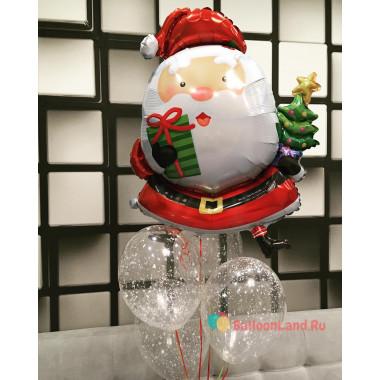 Букет воздушных шариков на Новый год с Санта Клаусом