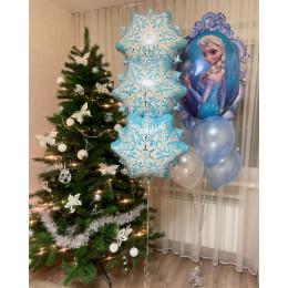 Композиция из шаров с гелием снежинки с Эльзой для детского праздника