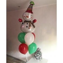 Фонтан из шаров Снеговичок