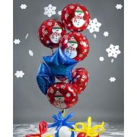 Букет воздушных шаров Снеговики со звездами