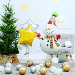 Набор шариков улыбающийся Снеговичок со звездами