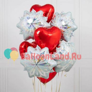 Букет шаров со снежинками и сердцами
