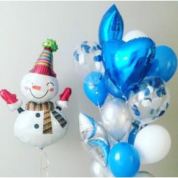 Композиция из шаров Снеговик со звездами и сердцем