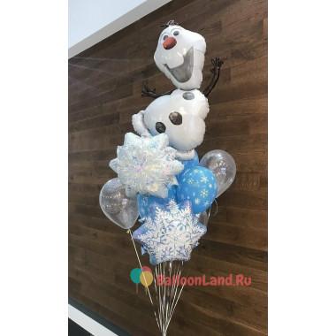 Букет из шариков с гелием Снеговичек Олаф со снежинками