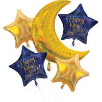 Сет из гелевых шариков на Новый год с месяцем и звездами