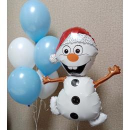 Композиция из шаров с гелием Озорной снеговик