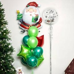 Композиция из шаров Санта Клаус со звездами и шаром с перьями