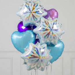 Букет шариков снежинки и сердца