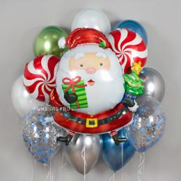 Сет из шариков Санта с елкой и леденцами