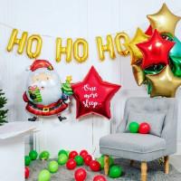 Композиция из шариков с Санта Клаусом и звездами