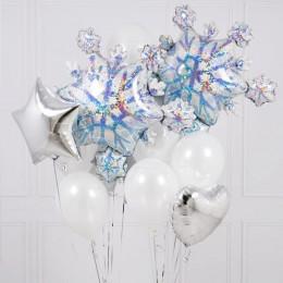 Букет из гелиевых шариков со снежинками, сердцем и звездой