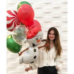 Букет из гелевых шаров Снеговик с леденцом