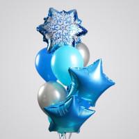 Букет из гелевых шаров Снежинка со звездами