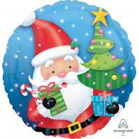 Шар-круг Санта с подарками и ёлкой