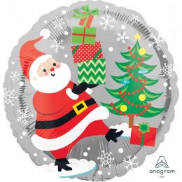 Шар-круг Санта шагает с подарками