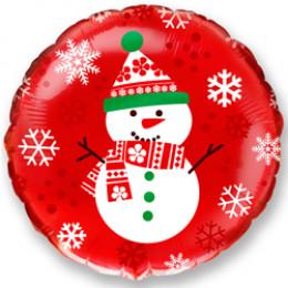 Шар-круг Снеговик на красном фоне