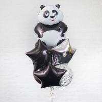 Букет гелиевых шаров Панда со звёздами