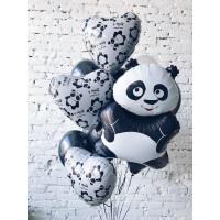 Букет шаров с пандой и сердцами