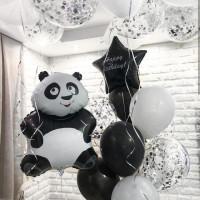 Композиция из шаров с пандой и вашей надписью